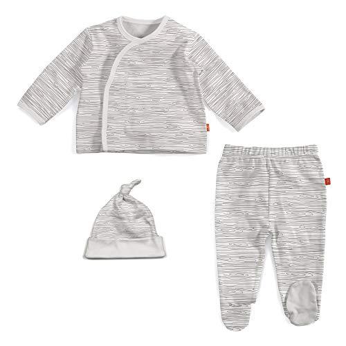 Magnetic Me by Magnificent Baby 100% Organic Cotton Magnetic Kimono Set 3-Piece Shirt, Pant, Hat Set