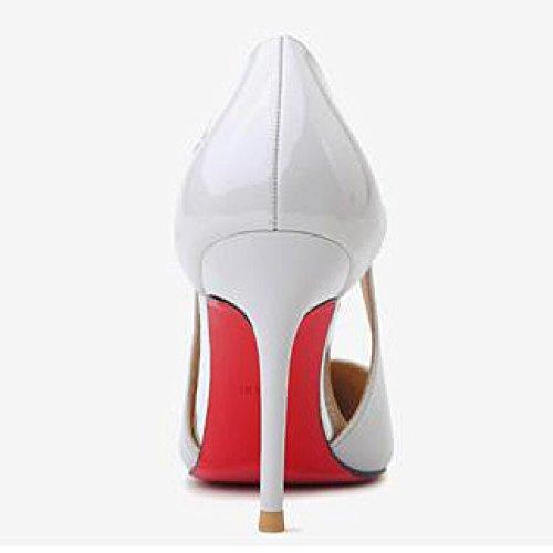 Femme 36 White en Verni pour Sexy Noir Chaussures Chaussures 4 EU Nightclub De 1cm Cuir Mariage Talons Travail Creux 9 Femmes Cour Party UK Hauts Mode rnrAqwgF