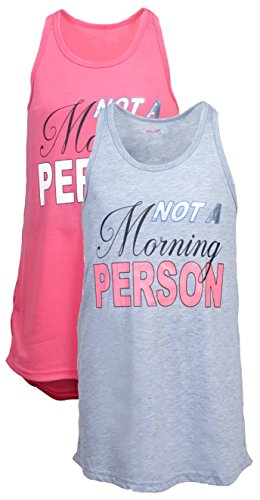 Girls Sleeveless Nightgown Pajama Sleepwear Sets (2 Pack), Large (14-16) Not A Morning Person ()
