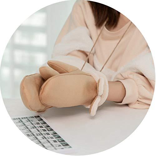 Women Winter Plus Plush Thick Warm Gloves Halter Mittens Female Cartoon Rabbit Ears Wind Suede Leather Faux Fur Gloves B24,Khaki