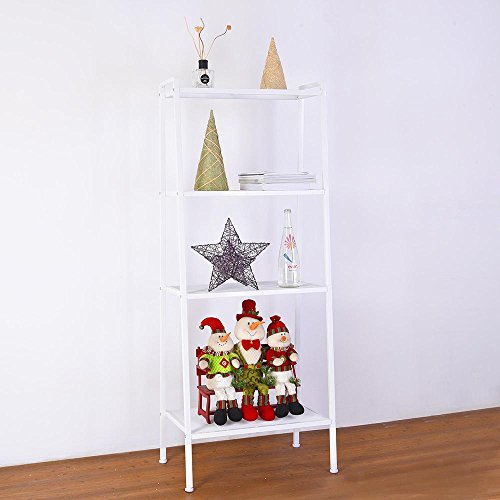 (Yescom 4 Tier Metal Ladder Shelf Bookcase Leaning Storage Rack Corner Display Shelving Plant Flower Stand White)