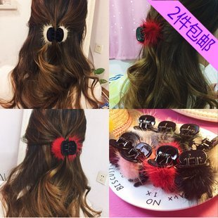 Wave Gripper - usongs plush mink hair clip gripper large bangs clip real hair clip hair ball hair accessories jewelry women girls wave