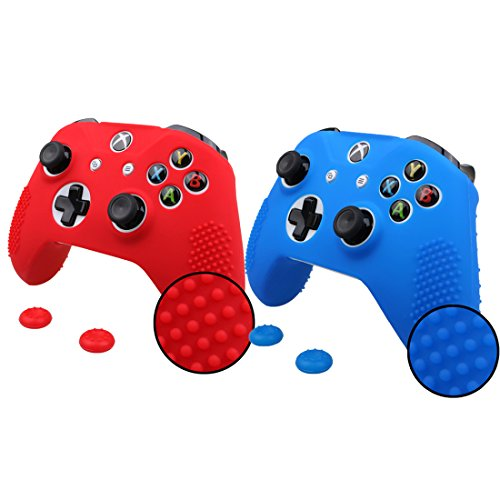 Pandaren STUDDED Anti-slip Silicone Cover Skin Set for Xbox One S / Xbox One X Controller (Skin X 2 + Thumb Grip X4)(Red,Blue) ()