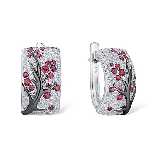 Santuzza Sterling Silver Pink Cherry Tree Earrings Created Ruby Cubic Zirconia Fashion Jewelry