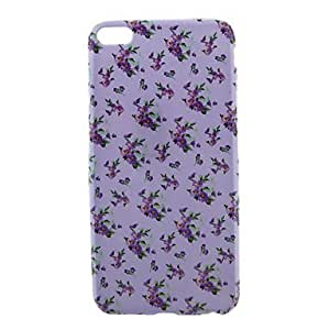 LIMME Purple Background Flowers Pattern Smooth Surface TPU Soft Back Cover for iPhone 6 Plus