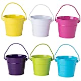 Colored Mini Metal Buckets - 6-Pack Colorful Tin Pails with Handles, Small-Sized for The Beach, Party Favors, Easter, Candy, or Garden, Assorted Colors Yellow, White, Pink, Violet, Green, Blue
