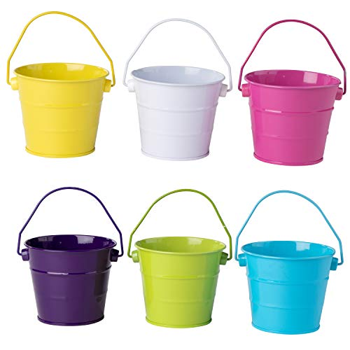 Colored Mini Metal Buckets - 6-Pack Colorful Tin Pails with Handles, Small-Sized for The Beach, Party Favors, Easter, Candy, or Garden, Assorted Colors Yellow, White, Pink, Violet, Green, Blue -