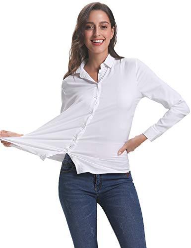 Chemisier Longues Bureau Chic Femme avec Bouton Femme Top lgante Blanc Habiller Tunique Affaires Chemise Casual Manches Classique 0U1r0q4