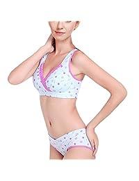 AVITALK Women's Nursing Maternity Dot Printing Bra&Underwear Set- Blue- B40(Bra)+Size XXL(Panty)