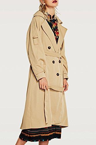 Kaki La Style Crois Femmes Britannique De De Trenchcoat De La De Revers Taille Tenue Les Extrieur nBZwWfxW