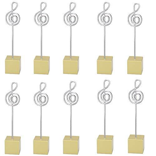 (10pcs Music Shape Table Number Holder Name Place Card Holder Memo Clip Holder Standr Pictures Card Paper Menu Clip … (Gold))