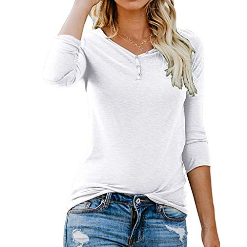 Xturfuo 2019 Spring Women's Button V-Neck Solid Color Long-Sleeved Shirt White