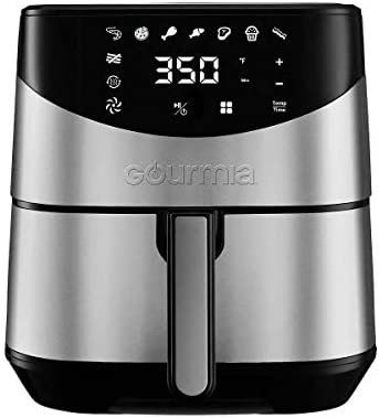 Gourmia Digital Stainless Steel 6 Qt 5.7L Digital Air Fryer With AeroCrispTM Technology for up to 80 less fat.includes Non-Stick Basket, Multi-Purpose Rack 4 Skewers