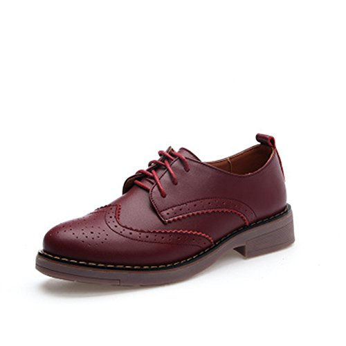 T-july Scarpe Oxfords Da Donna - Comode Scarpe A Punta Tonda Retro Lace-up Tacco Basso Bordate Bordeaux