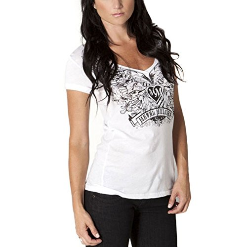 Metal Mulisha - Winged Floral V-Neck Juniors T-Shirt - Large