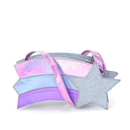 B.Rosy Handbags by Ruby Rose Turner -Wish Come TrueNovelty Girls Purse -UniqueShooting StarShaped DesignVegan LeatherCrossbody Bag MetallicStrap Shoulder Bag