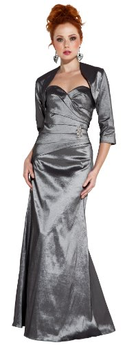 Textured Silky Strapless Gown with Crystal Pin & Bolero MOB Dress Mother of the Bride