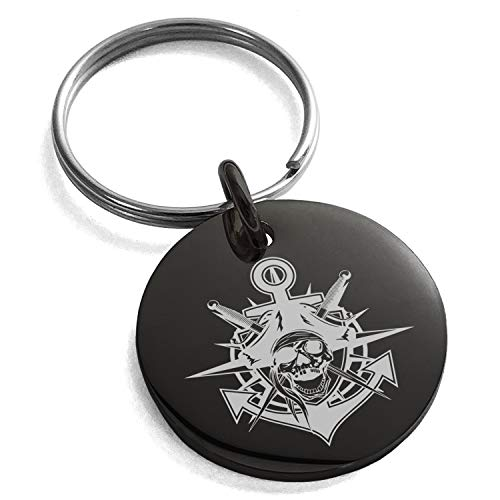 - Tioneer Black Stainless Steel Jolly Roger Pirate Skull Anchor Engraved Small Medallion Circle Charm Keychain Keyring