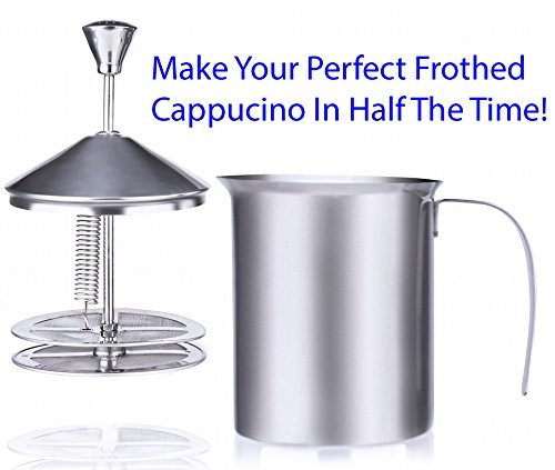 (Milk Frother Makes Your Perfect One Cup Of Fluffy Cappuccino Latte or Hot Chocolate In Less Than One Minute With It's Spring Loaded Durable Double Mesh!)