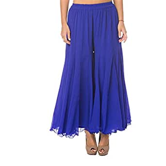Blue Palazzo Trousers Pant For Women