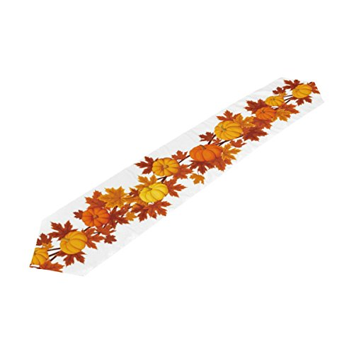 Naanle Thanksgiving Holiday Long Table Runner 13x70 Inch, Pumpkin Fall Leaves Polyester Table Cloth Runner for Kitchen Wedding Party Decoration