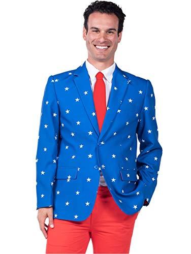 - Men's Patriotic American Flag Blazer - Red White & Blue USA Suit Jacket (38)