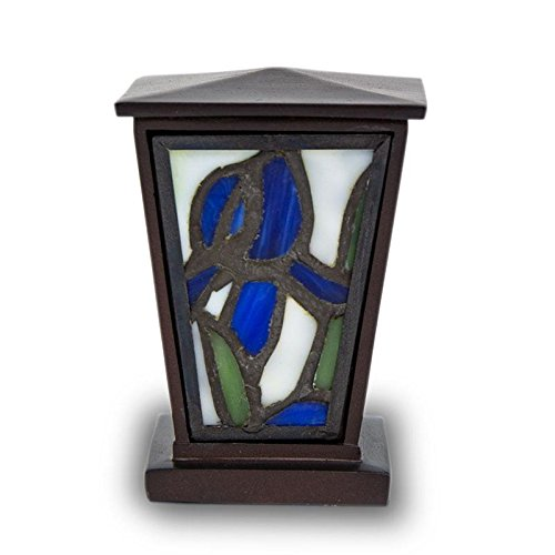 OneWorld Memorials Iris Stained Glass Keepsake Urns - Extra Small - Holds Up To 3 Cubic Inches of Ashes - Blue Cremation Urn for Ashes - Engraving Sold Separately Iris Urn