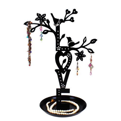 LOVE Jewelry Tree Stand Black with Two Lovebirds Tweeting, Removable Magnet Bottom, Tray Base, Metal by JewelryNanny (Image #10)