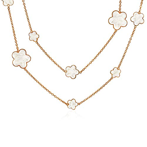 (Bling Jewelry White Cream Clover Flower Long Rose Gold Plated Brass Station Tin Cup Chain Wrap Layer Necklace for Women 42 Inch)