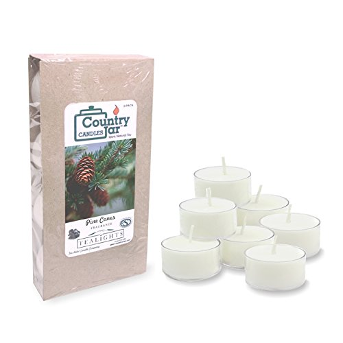 Light Wide 3 Pinecone (Country Jar Pine Cones Soy Tea Lights Candle (8-Pack) .75 oz. ea. [+] Special! 3 for $21.50! 4 for $26.50!)