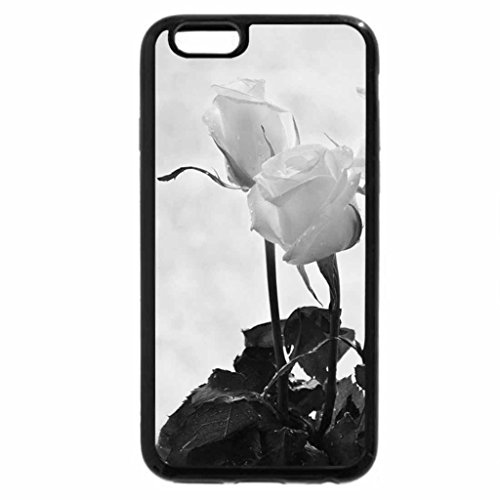 iPhone 6S Case, iPhone 6 Case (Black & White) - Roses are white