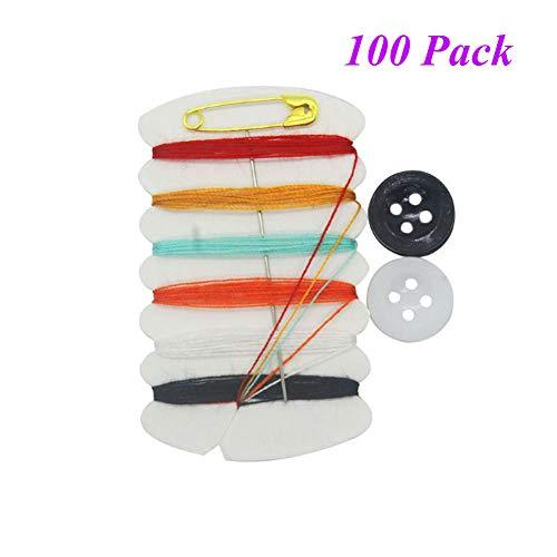 Aysekone 100 Sets Mini Sewing Kit Portable Sewing Kit Needle Thread Button Pin Set Travel Tools Kit Women Hand Sewing Bag Hotel Amenities Necessities Grooming Sewing Kit