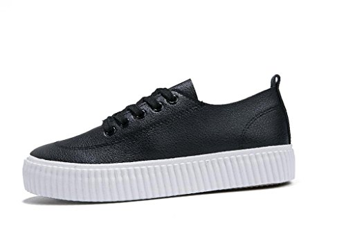 SHFANG Señora Zapatos Retro Simple Grueso Fondo Pu Movimiento De Ocio Estudiantes Escuela De Compras Negro Blanco Black