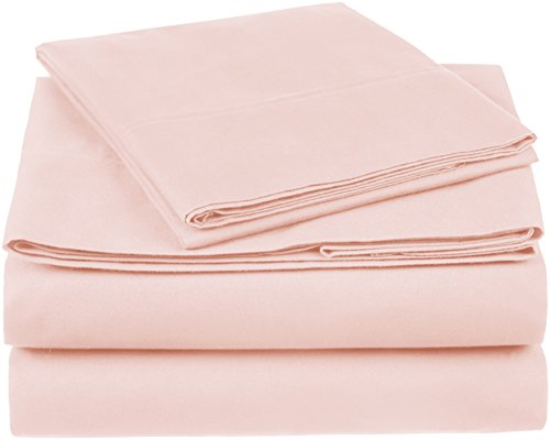 Pinzon 300 Thread Count Organic Cotton Bed Sheet Set, Twin, Blush Pink
