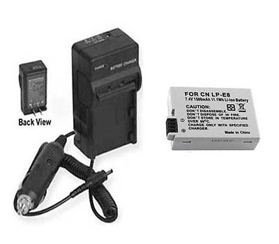 Battery + Charger for Canon LP-E8, Canon LPE8, Canon KISS X4, Canon T21, Canon T3i
