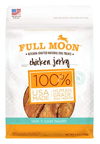 Full Moon All Natural Human Grade Dog Treats For Skin & Coat Health, Chicken Jerky, 6 Ounce
