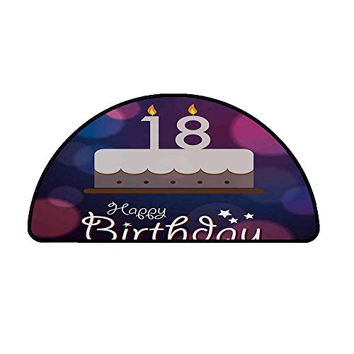 """18th Birthday Decoration Comfortable Semicircle Mat,Cartoon Birthday Party Cake with Candles Abstract Backdrop for Living Room,21.6"""" H x 43.3"""" L"""