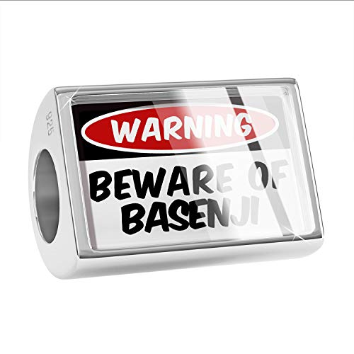 NEONBLOND Charm Beware of The Basenji Dog from Congo 925 Sterling Silver Bead