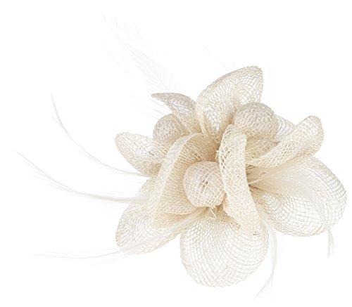 Gemvie Women Feather Flower Fascinator Hair Clip Kentucky Headband Off-White