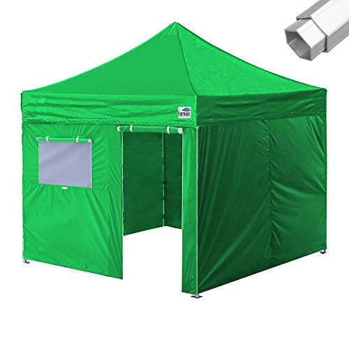 Eurmax PRO 10X10 Pop up Canopy Wedding Party Commercial Tent W/4 Walls +Roller Bag (Kelly Green)