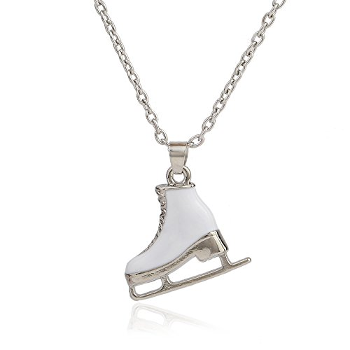 EUEAVAN White Enameled Sports Ice Skate Pendant Jewelry for Womens Necklaces]()