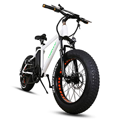NAKTO 20″ Fat Tire Electric Bicycle Super Stable 300W Brushless Motor Electric Bike Three Working Mode 36V/10A Removable High Capacity Waterproof Lithium Battery E-Bike