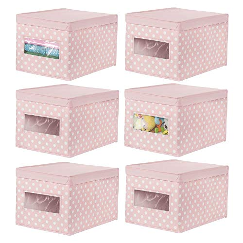 (mDesign Soft Stackable Fabric Closet Storage Organizer Holder Box - Clear Window and Lid, for Child/Kids Room, Nursery, Playroom - Polka Dot Pattern - Large, 6 Pack - Light Pink with White Dots)