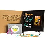 Felt Letter Board with Photo Frame - 12x12 Changeable Letter Board with 4x6 Photo Frame | 375 Letters, Words, Emoji in Gold, Turquoise & White | Set Includes Unique Felt Bag, Handy Cutter, Metal Stand