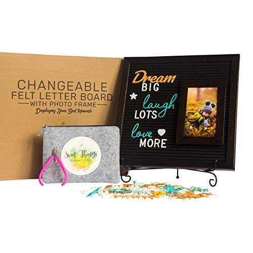Felt Letter Board with Photo Frame - 12x12 Changeable Letter Board with 4x6 Photo Frame | 375 Letters, Words, Emoji in Gold, Turquoise & White | Set Includes Unique Felt Bag, Handy Cutter, Metal Stand (Cutter Handy Large)