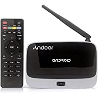 Andoer CS-918T 1080P Smart Android 4.4 TV Box Rockchip RK3128 Quad Core ARM Cortex A7 1.3 GHz 2G / 16G H.265 XBMC DLNA Miracast Airplay WiFi Bluetooth 4.0 OTG TF Card Slot External Antenna with Remote Controller