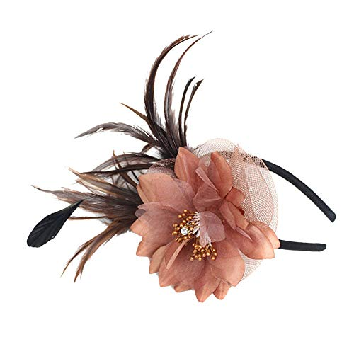- yiqianzhaobiao_Hat YQZB Fascinator for Women Wedding Veil Bridal Headwear Tea Party Feather Mesh with Clip Hats Penny Ribbons Headdress Coffee