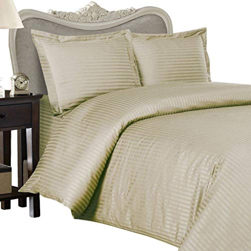600 Thread Count Egyptian Cotton Attached WATERBED Sheet Set, King, Beige Stripe -