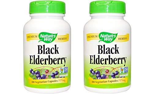 Black Elderberry Berries & Flowers Nature's Way 100 Caps (Pack of 2) For Sale