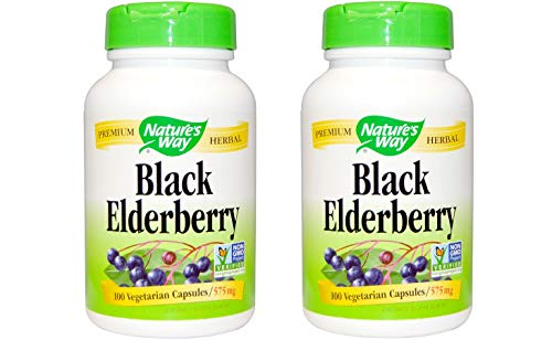 Black Elderberry Berries Flowers Nature s Way 100 Caps Pack of 2